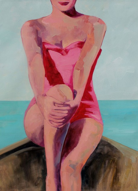 Woman in a Boat 48 x 30 inches